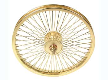 "16"" 72 SPOKE FRONT CHOPPER WHEEL 80G GOLD"