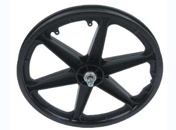 "20"" PLASTIC 6-SPOKE FREE WHEEL BLACK (no brakes)"